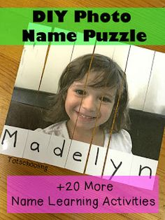 Photo Name Puzzle Activity for Preschool and Kindergarten Kindergarten Names, Preschool Names, Preschool Literacy, Literacy Activities, Toddler Preschool, Name Writing Activities, Kind Photo, Name Puzzle, Beginning Of School