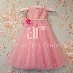 Spreading some baby love for Anushree Reddy babies with this blush pink dress! Pink Dresses For Kids, Blush Pink Dresses, Little Girl Dresses, Cute Dresses, Girls Dresses, Baby Dresses, Baby Frocks Designs, Kids Frocks Design, Kids Party Wear