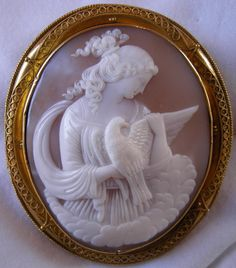 """""""Allegory of the Purity""""  Sardonyx Shell Cameo in 15k Gold Frame, Italy,  c. 1850   Frame could be English"""