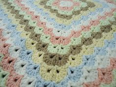 4025 Quilt Motif, free pattern by MYPicot.  This baby blanket crocheted by Endearah with Hobby Lobby ILTY in Ivory, Light Peach, Light Taupe (brown), Pistache (light green), Buttercup (light yellow), & Arctic Ice (light blue)   . . . .   ღTrish W ~ http://www.pinterest.com/trishw/  . . . .   #crochet #afghan #throw #stitch
