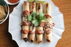 Pork Taquitos with Chocolate Mole upclose | HipFoodieMom.com