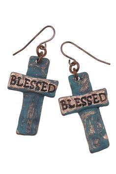 """* hand-painted patina/antique copper plating * artisan cross earrings * """"Blessed"""" inscription * fish hook ear wires"""