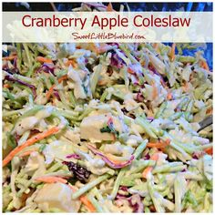 Sweet Little Bluebird: Cranberry Apple Coleslaw  Use dried cherries instead of cranberries. Slaw Recipes, Keto Recipes, Protein Recipes, Easy Recipes, Cooking Recipes, Healthy Recipes, Apple Coleslaw, Asian Slaw, Pork Dishes