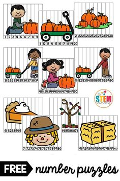 Fall Number Puzzles – The Stem Laboratory - Colorful Candies Kindergarten 2020 Numbers Kindergarten, Kindergarten Math Activities, Kindergarten Classroom, Thanksgiving Math, Number Puzzles, Math For Kids, Fall Season, Ring, Counting