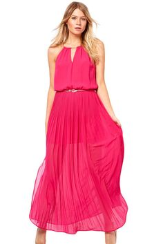f06e721b10c Red Chiffon Jersey Maxi Dress With Gold Chain
