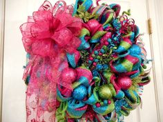 Hey, I found this really awesome Etsy listing at https://www.etsy.com/listing/210924560/christmas-deco-mesh-wreath-fuchsia