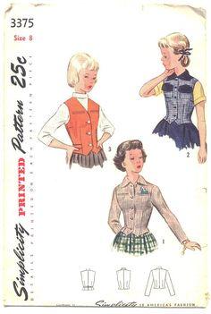 Vintage 1940s Girls Long Sleeve Jacket Sewing Pattern Simplicity 3375 Sleeveless Vest Size 8 Waist 23