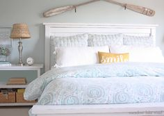 blue and white bedroom with layered bedding | Meadow Lake Road