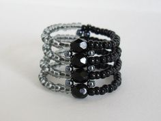 Seed bead ring Right angle weave ring Black ring by MisakoBeads