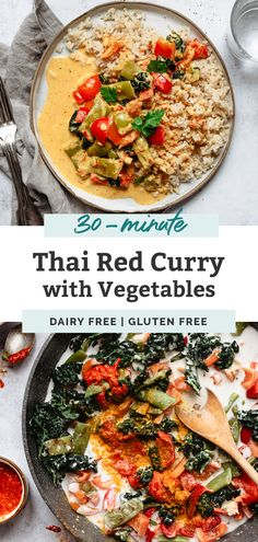 Thai Red Curry with vegetables ready in 30 minutes on the stovetop. An easy healthy dinner recipe everyone will love. Vegan friendly and gluten-free. Easy Healthy Dinners, Healthy Dinner Recipes, Whole Food Recipes, Vegetarian Recipes, Healthy Food, Free Recipes, Keto Recipes, Thai Curry Recipes, Asian Recipes