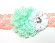 Chiffon Flower in Bright Mint Stripes
