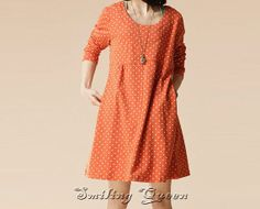orange dress green dress spring dress autumn by SmilingQueen1, $54.99