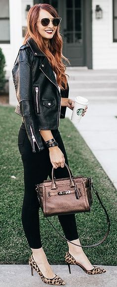 #fall #trending #outfits | Black + Bronze + Leo