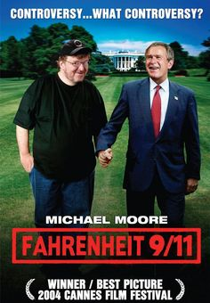 "Michael Moore, quote.  ""He is probably choking on a pretzel or something. I hope nobody tells him that I have won this award while he is eating a pretzel. ... He has the funniest lines in the film. I am eternally grateful to him."" --Michael Moore on President Bush, after winning the top prize at the Cannes film festival for his documentary film ""Fahrenheit 9/11"""