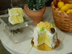 Handmade Miniature Yellow Cake with Yellow by JansPetitPantry