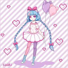 pink bear girl♡ #kawaii,#harajuku,#fairy kei,#pastel