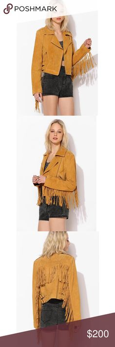 Staring At Stars Suede Fringe Moto Jacket Brand new with tags. Beautiful good jacket. Sold out in stores. Never worn - perfect condition. Leather Urban Outfitters Jackets & Coats