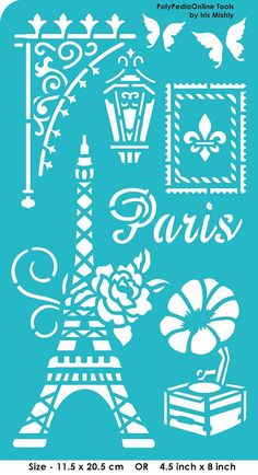 "Stencil Stencils Pattern Template, Reusable, Adhesive, Flexible, for polymer clay, fabric, wood, glass, cards | PARIS | 4.5""-8"", 11.5-20.5cm"