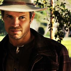 Timothy Olyphant as Raylan Givens.