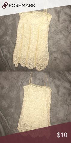 Lace Cami Good condition. Adjustable straps. Size medium. Best offer! Tops Camisoles