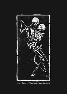 "danteobliviate: ""May nothing but death do us part. artist unknown "" - Phone Wallpaper danteobliviate: ""May nothing but death do us part. artist unknown "" Source by mallorytraum Inspiration Art, Art Inspo, Art Noir, Tattoo Hals, Tattoo Neck, Skeleton Art, Skeleton Love, Skeleton Dance, Skull Art"