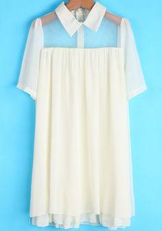 Vestido gasa suelto solapa-beige