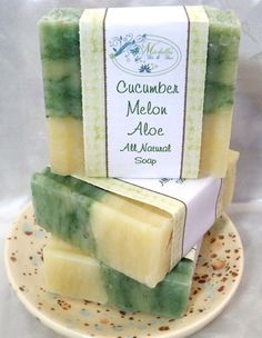 Cucumber Melon and Aloe Cold Processed Soap Vegan