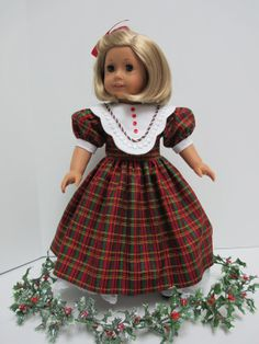 Christmas Plaid 1950s Dress with White Collar for American Girl Doll