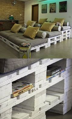 Wood Pallet Platform Couch TV Room DIY.   such an awesome idea for people to just lounge around in
