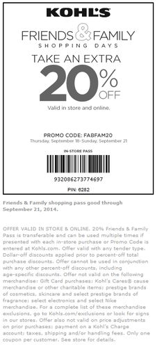 Pinned September 18th: Extra 20% off at #Kohls, or online via promo code FABFAM20 #coupon via The #Coupons App