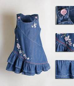What can be done from the old denim things? (Sea of ​​ideas and MC) Kids Frocks, Frocks For Girls, Dresses Kids Girl, Kids Outfits, Frock Patterns, Baby Dress Patterns, Fashion Kids, Girl Fashion, Baby Frocks Designs
