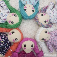 A bunch of cute Beccalalia dolls. All with hair that can be gently played with and removeable clothes for extra playing fun. They also come with a dressup mermaid costume. To see more visit www.etsy.com/shop/beccalalia Dress Up, Mermaid, Costumes, Dolls, Christmas Ornaments, Holiday Decor, Cute, Shop, Hair