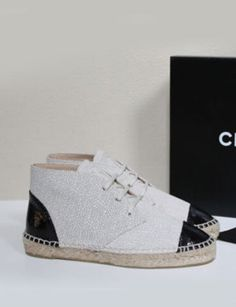 Chanel Two Tone Crackled Leather Ankle Boot Espadrille Lace Up Sneakers