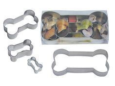 DOG BONE  set of 4 Cookie Cutter 6 3.5 2 and 1.75 by KitchenCrafts