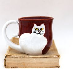 Cat Lady Mug - Rustic Red with White Kitty - Hand Thrown Ceramic  Coffee Tea Cup -
