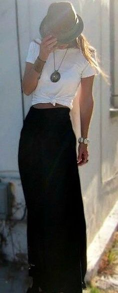 simple outfit with long skirt