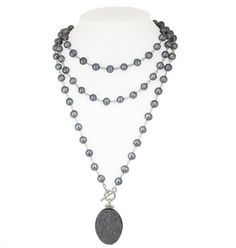 """Sterling Silver 7-8MM Black Ringed Freshwater Cultured Pearl with Black Agate Druzy 48"""" Necklace"""