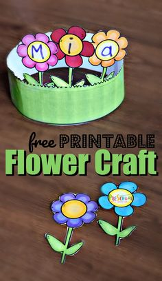 Preschool Name Crafts, Summer Preschool Activities, Kindergarten Crafts, Toddler Crafts, Toddler Preschool, Free Preschool, Flower Craft Preschool, Kids Crafts, Preschool Garden