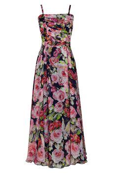 Suknia Bona granatowa w kwiaty Semper  #dress #summer2016 #floral #roses #trendy #fashion2016 #fashionbrand #maxidress #rose #elegance #elegant #designer #brand