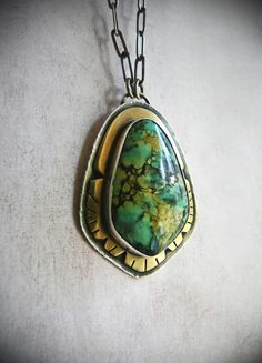Sterling Silver, Brass, and Turquoise Tribal Necklace - Silver and Stone Metalwork Jewelry - Boho Artisan Jewelry - Silversmith Pendant