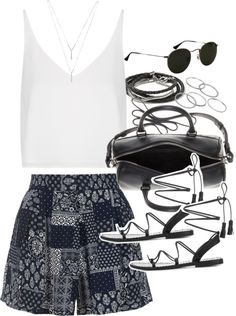 Outfit with shorts for summer by ferned featuring BCBGeneration Topshop white shirt, 36 AUD / Topshop shorts, 54 AUD / Anine Bing black sandals, 390 AUD / Yves Saint Laurent bowling bag / Banana republic jewelry, 35 AUD / Apt 9 stackable ring, 12 AUD...