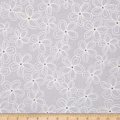 Michael Miller Wee Sparkle Metallic Lacey Daisy Cloud from @fabricdotcom  From Michael Miller, this cotton print is perfect for quilting, apparel and home decor accents. Colors include grey and white with gold metallic dots.