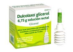 Dulcolaxo glicerol, PA: Glicerol. Laxante estimulante de acción local. Acción directa sobre mucosa o sobre plexos intestinales estimulando el peristaltismo. Inhibe absorción y aumenta secreción de agua y electrolitos, así reduce la consistencia e incrementa el volumen fecal.