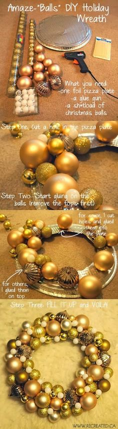 Easy DIY Christmas ornament wreath