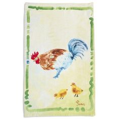 Sur La Table Jacques Pepin Collection Chicken with Chicks Linen Kitchen Towel, 28