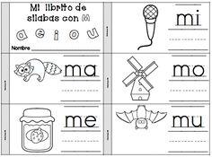 mi librito para la letra m - mi librito de silabas con m - ma, me, mi, mo, mu -  se los pueden llevar a casa para practicar las silabas.    Great take home word work for practicing syllables every week.
