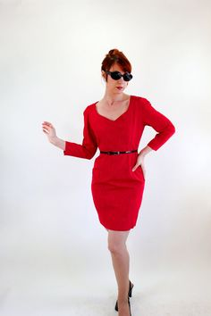 Storewide Sale - 1960s Mod Red Wiggle Party Dress. Mad Men Fashion. Sexy Dress. Cocktail Dress. Fall Fashion on Etsy, $55.00