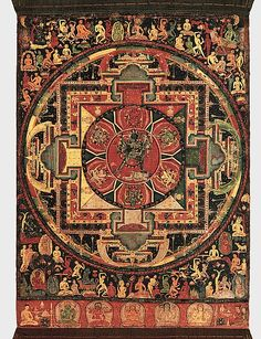 This ritual diagram (mandala) is conceived as the cosmic palace of the wrathful Chakrasamvara and his consort, Vajravarahi, seen at center. These deities embody the esoteric knowledge of the Yoga Tantras