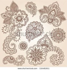 stock vector : Henna Flowers and Paisley Mehndi Tattoo Doodles Set- Abstract Floral Vector Illustration Design Elements