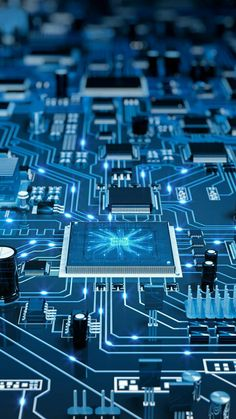 Motherboard of Electronic Control System. Art & Line Circuit Design Wallpaper in Blue Background Android Wallpaper Dark, Hacker Wallpaper, Apple Wallpaper, Dark Wallpaper, Galaxy Wallpaper, Mobile Wallpaper, Wallpaper Backgrounds, Electronic Circuit Projects, Electronic Engineering